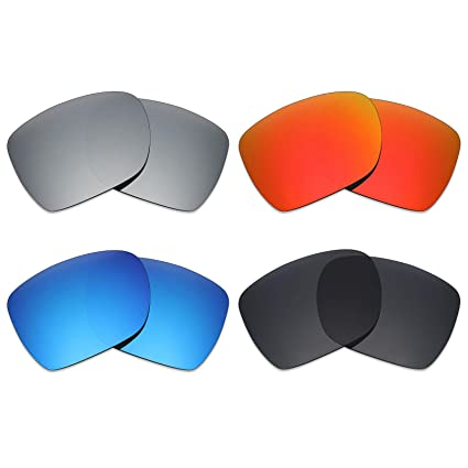 f18c6e0598 Image Unavailable. Image not available for. Color  Mryok 4 Pair Polarized  Replacement Lenses for Oakley Deviation Sunglass - Stealth Black Fire Red
