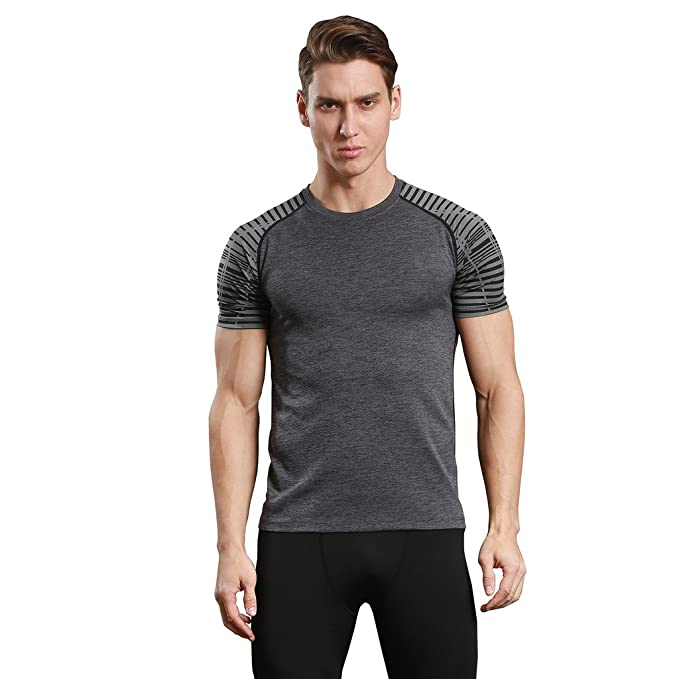 Mens Dry Fit Baselayer Compression T Shirt Printed Sleeve Tees for Sports