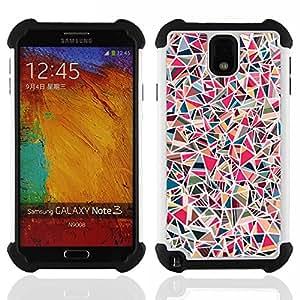 """SAMSUNG Galaxy Note 3 III / N9000 / N9005 - 3 en 1 impreso colorido de Altas Prestaciones PC Funda chaqueta Negro cubierta gel silicona suave (Mármol Rosa Piedra del modelo del azulejo"""")"""