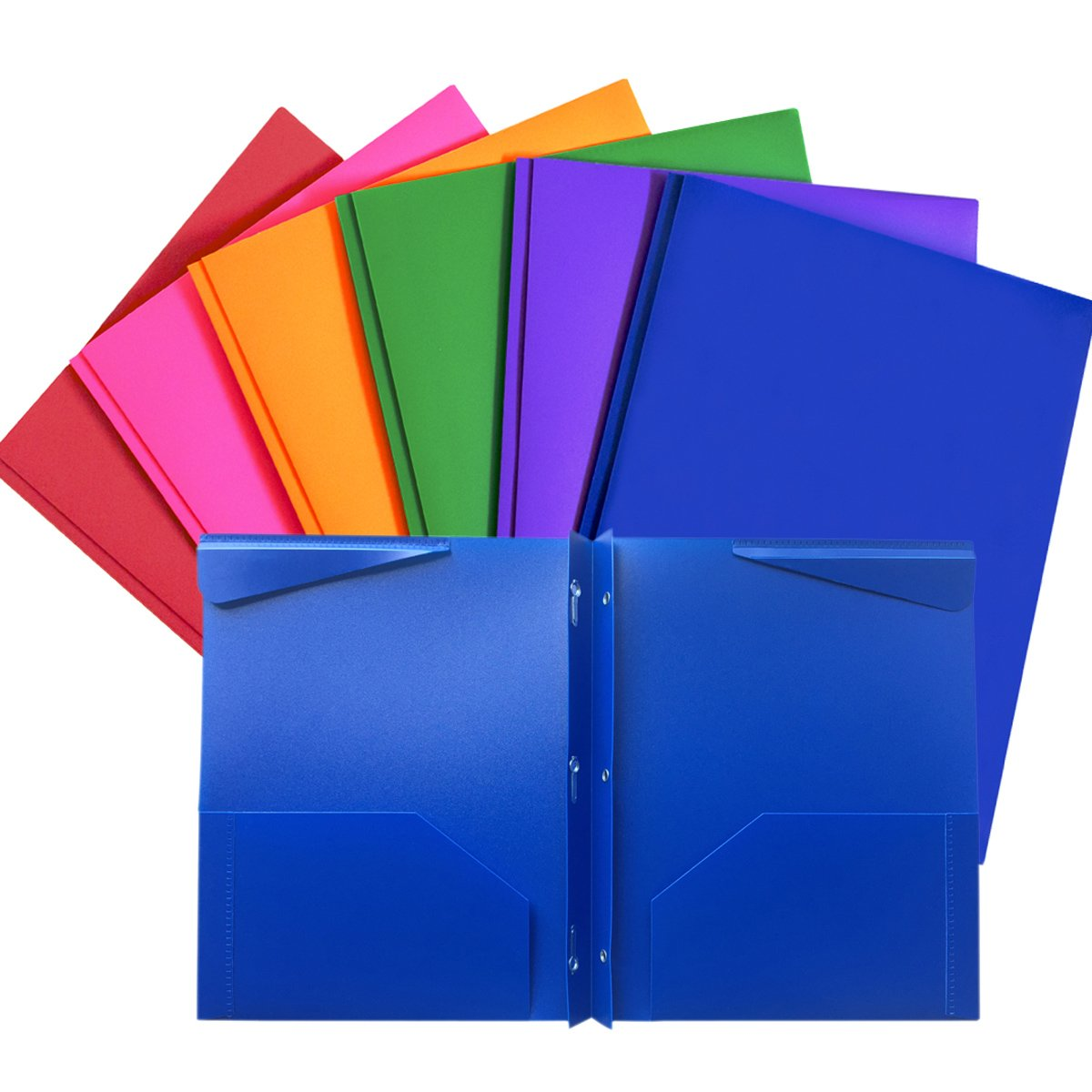 Folders, Plastic Folders with Pockets and Prongs, Heavy Duty Folders with Brads, 6/Pack