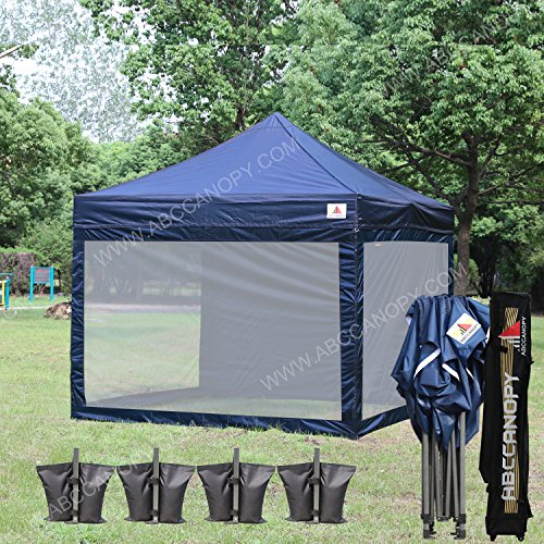 ABCCANOPY (18+ colors) 10x10 Easy Pop up Commmercial Canopy Tent with Matching White Mesh Walls Bonus Rolly Carry Bag and 4x Weight Bag (navy blue)