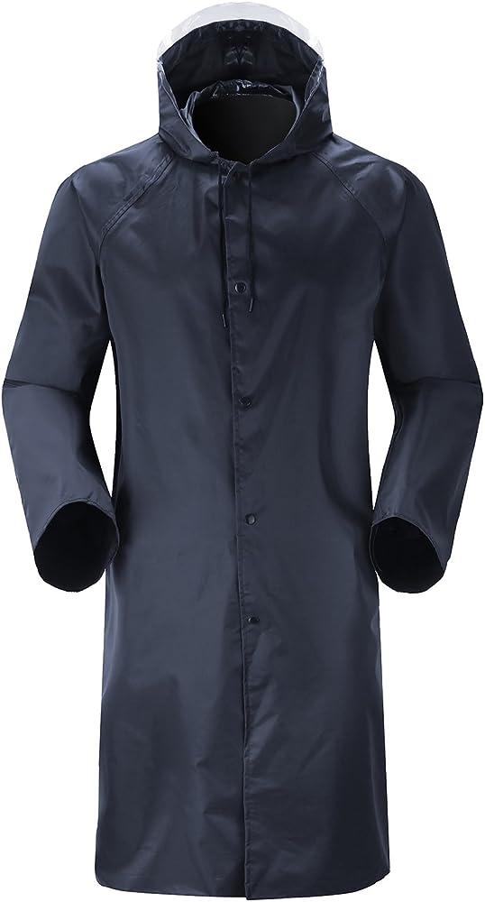 Men Raincoat Waterproof Lightweight Hooded Jacket Long Rain Coat Cover Outwear