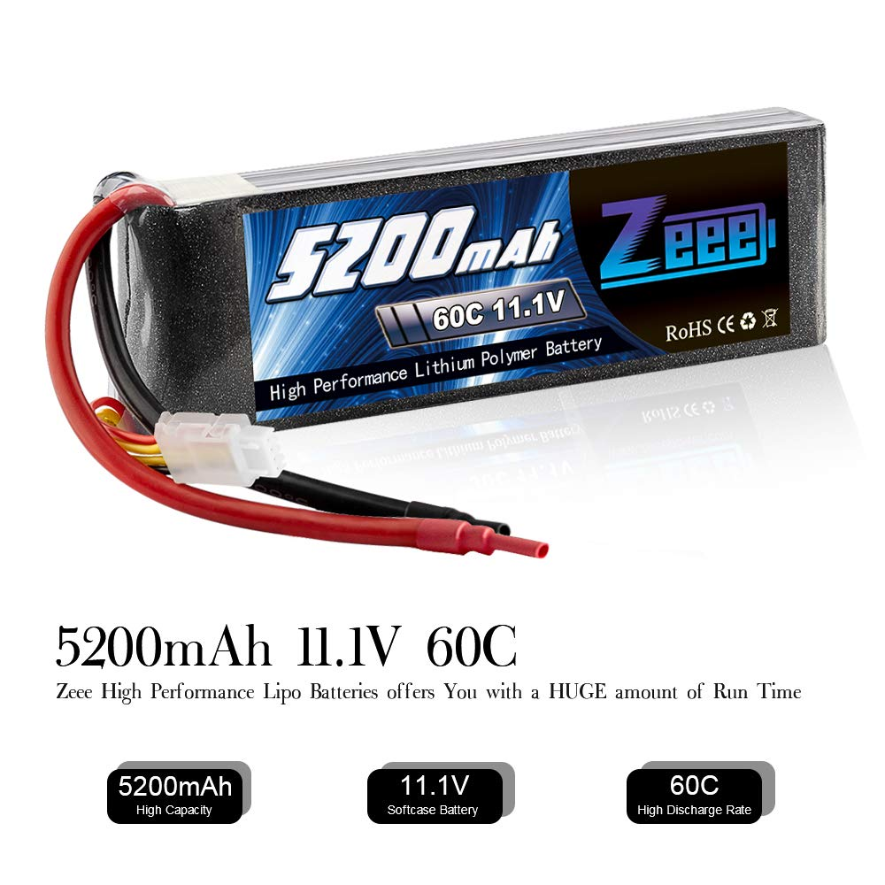 Zeee 5200mAh 11.1V 60C 3S LiPo Battery with (XT60 and Deans Connector) for RC Plane, DJI F450 Quadcopter,RC Airplane, RC Helicopter, RC Car/Truck, RC Boat by Zeee (Image #3)