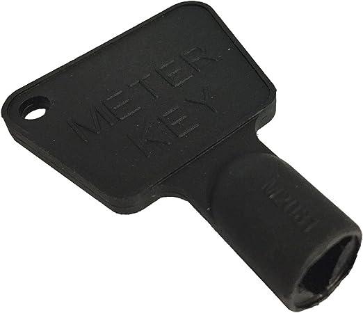 Llave triangular para contadores de luz y gas (plástico, 2 unidades), color negro