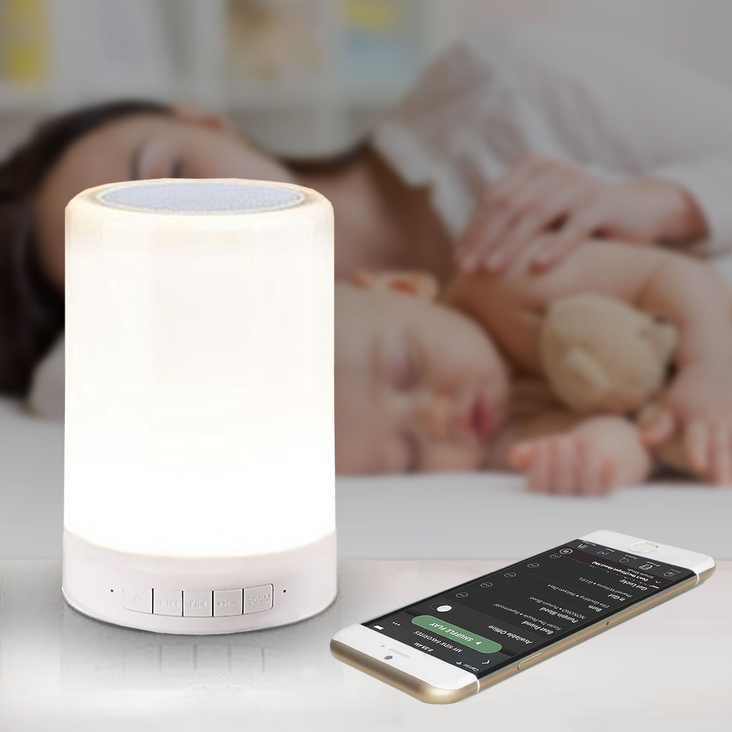 LED Night Light for Kids with Speaker and Touch Control by InSassy - Bedside Baby Nursery Bluetooth Lamp with Speakerphone - Adjustable Warm White Brightness with 7 Solid and Random Mood Colors