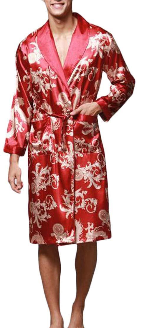 Cromoncent Men Long Sleeve Loungewear Print Silk Casual Pajama Sleep Robe Wine Red S by Cromoncent