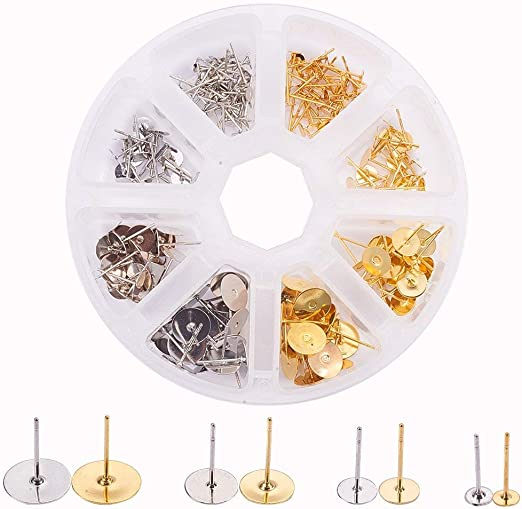30 pcs Stainless Steel Earring Pins Pad Post Stud Back Set Making Findings