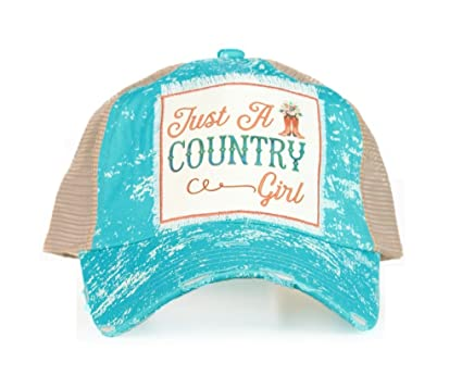 29ddc232 Image Unavailable. Image not available for. Color: Southern Junkie Jp Just  A Country Girl Vented Trucker Mesh Hat Cap Turquoise Blue