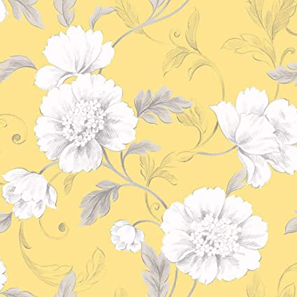 Rasch Boutique Floral Flowers Yellow Wallpaper Leaf Trail Grey White Luxury