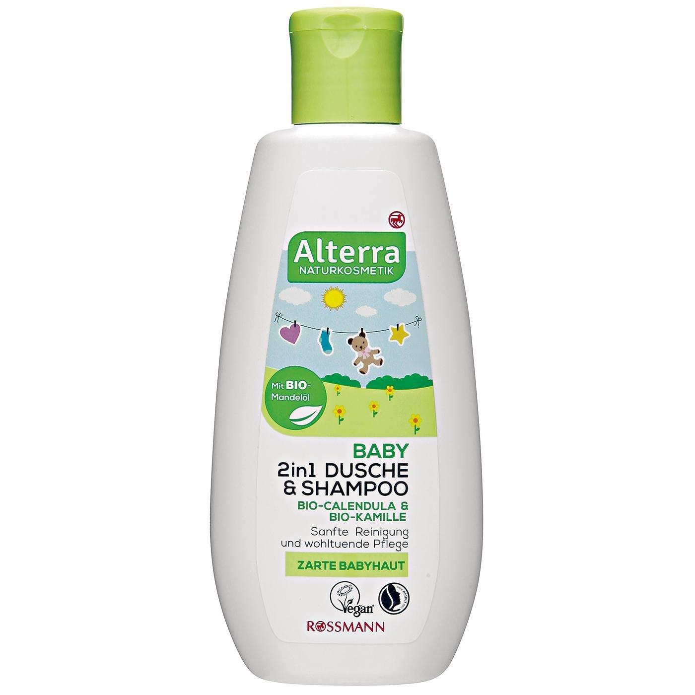 Alterra Baby 2in1 Dusche & Shampoo 200 ml für zarte Babyhaut, mit Bio-Calendula, Bio-Kamille & Bio-Mandelöl, sanfte Reinigung & wohltuende Pflege, zertifierte Naturkosmetik, vegan