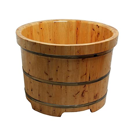 Luxhomespace Free Standing Cedar Wood Bath Tub, Round Sauna Bathtub ...