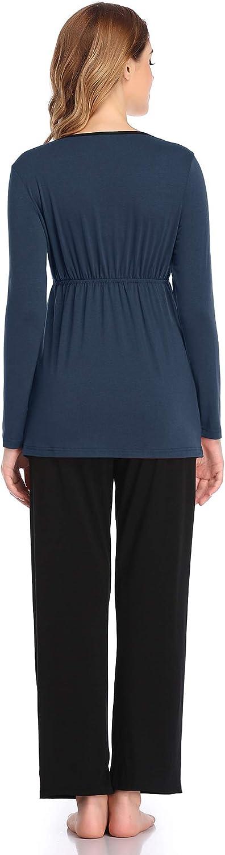 Aranmei Damen Stillpyjama Umstandspyjama Zweiteilige Nachtw/äsche Baumwolle Pyjamas Hausanzug Langarm mit Schwangerschaft Stillfunktion