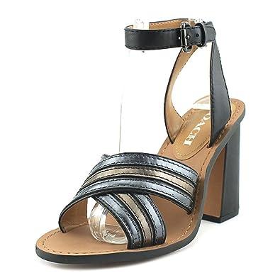Coach Women's Lennon Black Matte Calf/Gunmetal Mirror Metallic Sandal