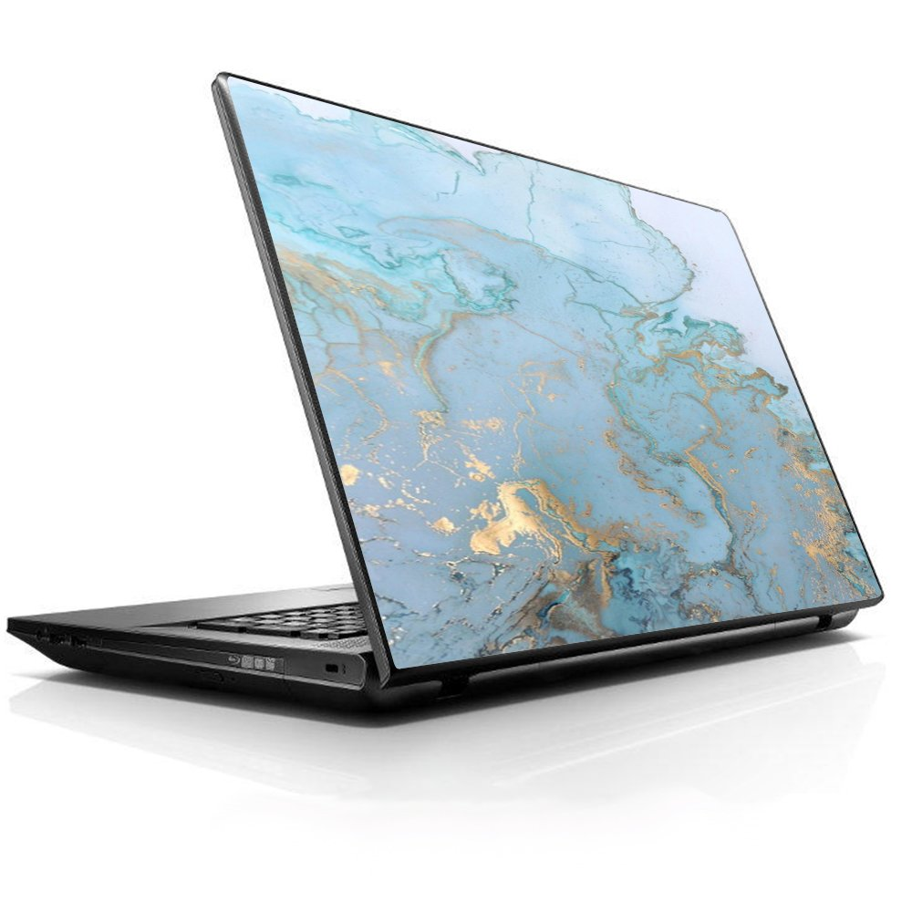 15 15.6 inch Laptop Notebook Skin vinyl Sticker Cover Decal Fits 13.3'' 14'' 15.6'' 16'' HP Lenovo Apple Mac Dell Compaq Asus Acer / Teal Blue Gold White Marble Granite