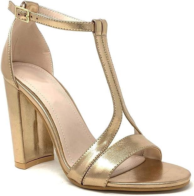 Angkorly Chaussure Mode Escarpin Sandale soir/ée Glamour Plateforme Femme Lani/ères crois/ées Rayures Traits m/étallique Talon Haut Bloc 11 CM