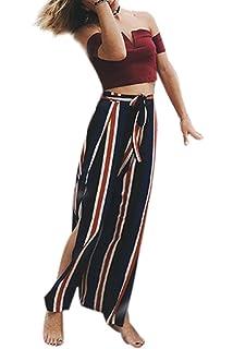 Damen Weite Hosen Casual Fashion Chiffon Gestreift Freizeithose Elegante  Mode Marken Vintage Loose Geöffnete Gabel Strandmode f9458718aa