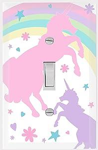 Girls Light Switch Cover Plate Kids Decorative Nursery Teen Toddler Room Decor Bedroom Bathroom Playroom (Pastel Unicorn)