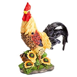 Bits and Pieces - Motion Sensor Rooster Statue - Decorative Yard Art Accent for Outdoors Lawn and Patio Décor, Backyard Sculpture, and Decoration