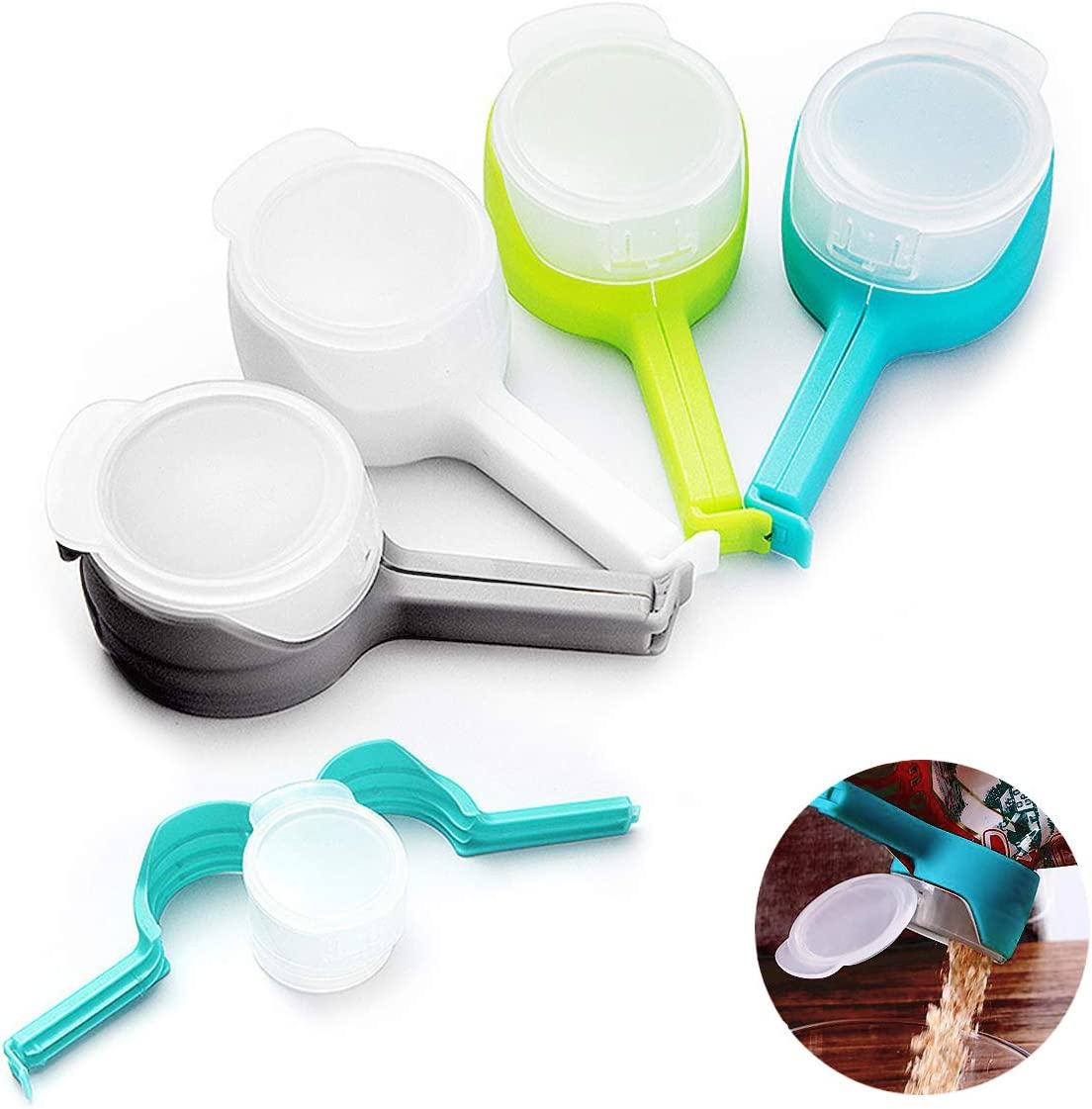 Food Storage Sealing Clips, Bag Clips with Pour Spouts, Kitchen Chip Bag Clips, Plastic Cap Sealer Clips for Kitchen Food Storage and Organization (4 PCS)
