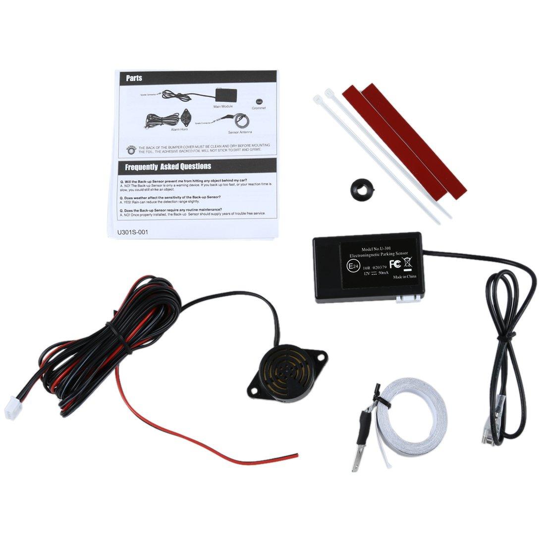 Sensor de aparcamiento - SODIAL(R)Conjunto de sensor de aparcamiento electromagnetico de parachoques trasero sin agujeros invisibles -UK: Amazon.es: Coche y ...