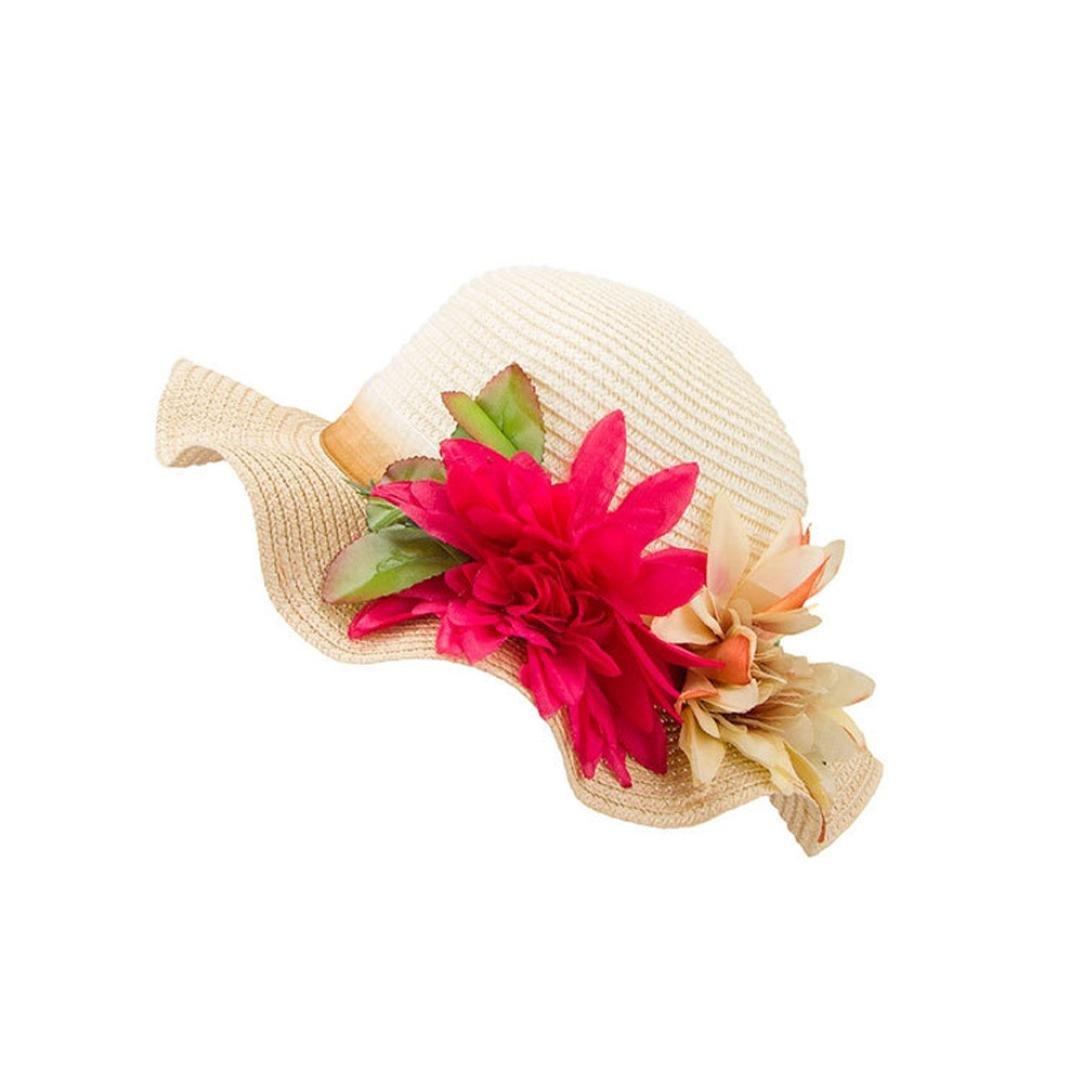 Orange Hongxin Summer Beach Straw Hat Casual Children Kids Baby Girls Hat Flower Breathable Straw Flower Hit Color Big Waves Hat Sun Hat Kids Boy Girls Beautiful Caps
