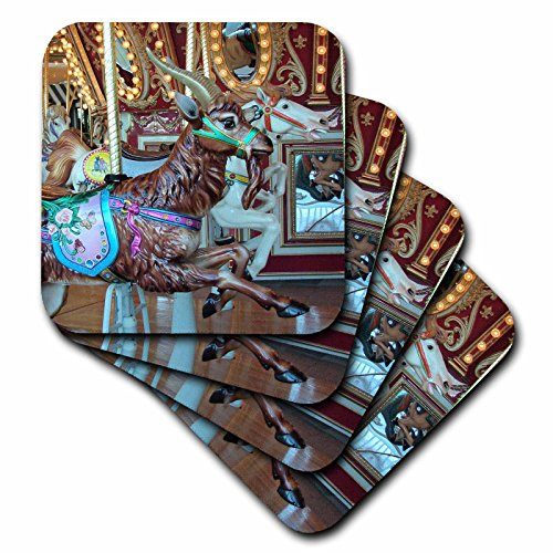 3dRose cst_6467_3 Goat on The Merry-Go-Round Photographed by Angelandspot Ceramic Tile Coasters, Set of 4