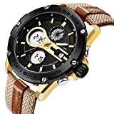 Mens Sport Analog Digital Watches Outdoor Waterproof Big Gold Toned Case Military Brown Leather & Nylon Strap Wrist Watch