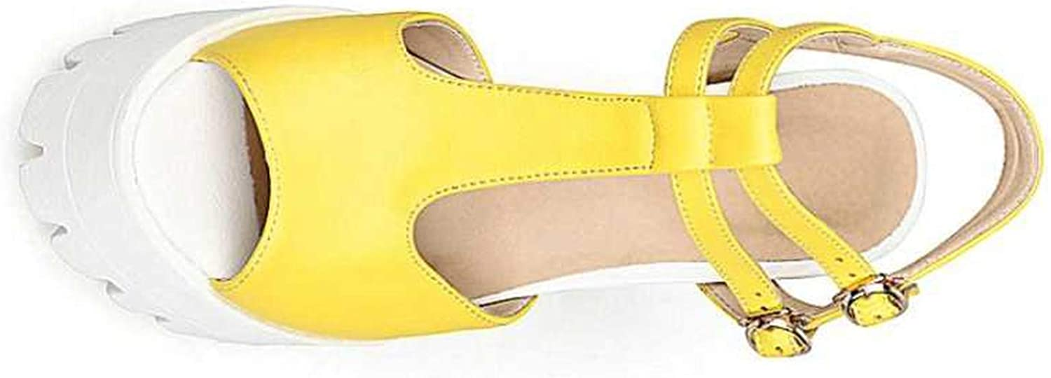 T-Strap Women Sandals Fashion Square High Heel Peep Toe Platform Shoes for Summer Woman,Yellow,10