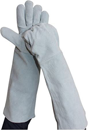 AYNEFY Feuerfest Handschuh,Backofen Handschuhe Garten Ofen Handschuh Schwei/ßerhandschuhe Leder Hitzebest/ändig Topfhandschuhe Kamin Handschuh f/ür Backen BBQ Schwei/ßen 1 Paar(Orange+Schwarz)