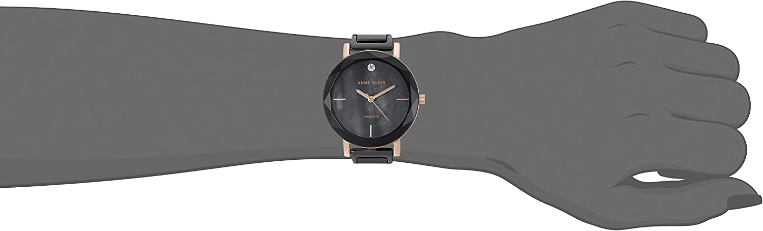 Anne Klein Women's Diamond-Accented Ceramic Bracelet Watch with Faceted Lens Black/Rose Gold
