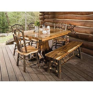 Hickory Live Edge Stump Table Set with 4 Wagon Wheel Side Chairs and Bench  sc 1 st  Amazon.com & Amazon.com - Hickory Live Edge Stump Table Set with 4 Wagon Wheel ...
