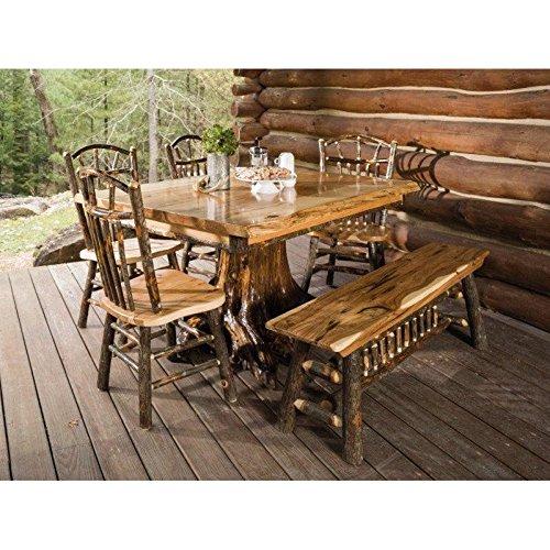 - Furniture Barn USA Hickory Live Edge Stump Table Set 4 Wagon Wheel Side Chairs Bench