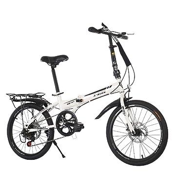 LETFF Bicicleta Plegable para Adultos de 20 Pulgadas para Hombre y Mujer, Blanco