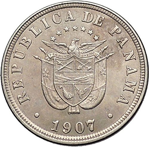 - 1907 PANAMA Central American Country Antique 2-1/2 Centesimos Coin i55250