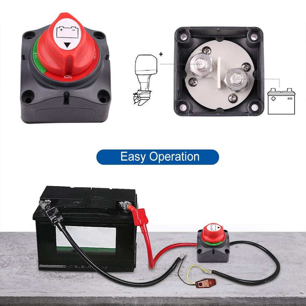 275//1250 Amp Posizione off-off LotFancy Interruttore Batteria 6V 12V 24V 48V 60V per Veicoli per Imbarcazioni Marine RV ATV UTV Interruttore per Sezionatore per Batteria Resistente allacqua