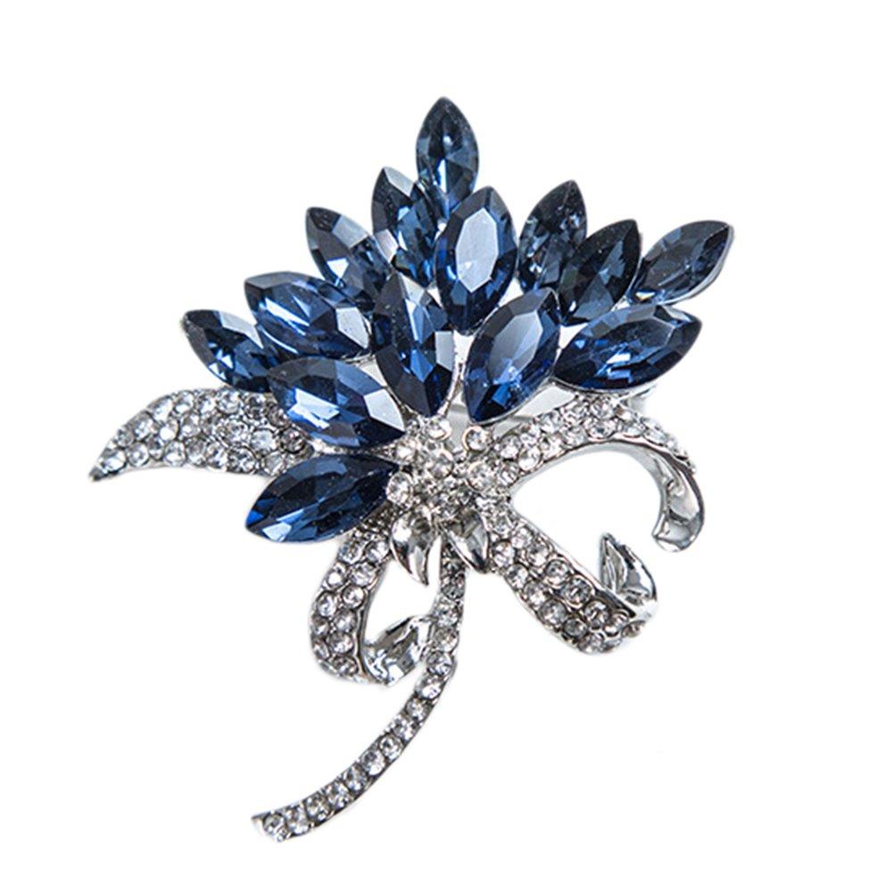 Cdet Brosche Strasssteine Orchideen Blumen Dek Frauen Brosche/Herren Brosche Anzug Brooch / Hochzeit Dekoration/ Geburtstags Geschenk Pin, 1 Stuck (Blau)