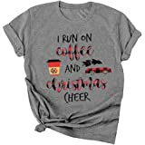 Merry Christmas Shirt for Women Leopard Plaid Christmas Tree Graphic Tees Causal T Shirt