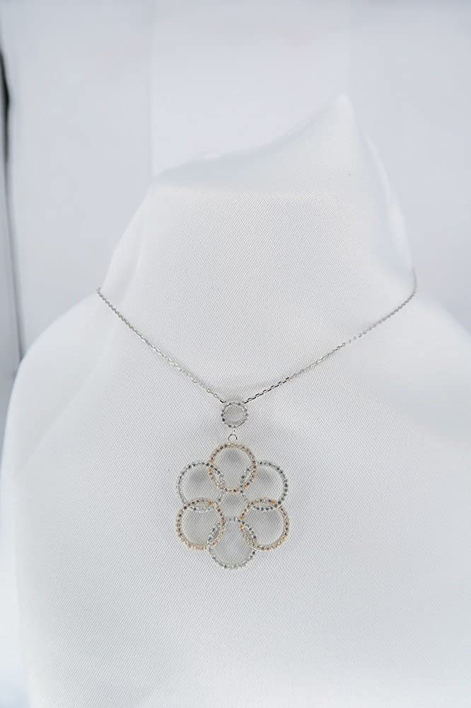 Overlapping Circles Floral Design CZ Pendant Necklace Classic Jewelry Rhodium and Rose Plated Sterling Silver