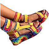 Sandals for Women Wedge,2021 Fashion Rainbow Ankle Buckle Sandals Summer Beach Sandals Open Toe Espadrille Platform