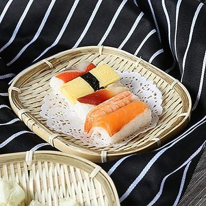 qxpect creativos cesta Bandeja bambú Sushi placa Hotel Restaurante Snack placa de frutas pan verduras Cesto