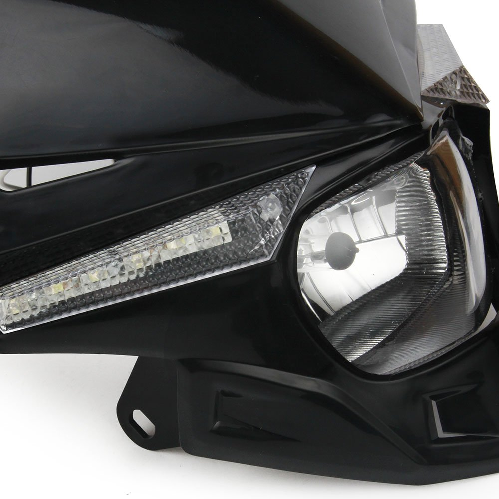 JFG RACING S2 12V 35W Universal Motorcycle Headlight Head Lamp Led Lights For For Honda Kawasaki Suzukki Yamaha Dirt Pit Bike ATV Black