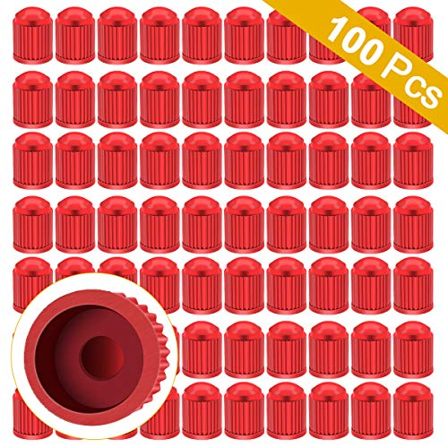 ARTISANMAN 100PCS Tire Valve Dust Caps, Universal Tyre Stem Caps Dustproof Tyre Stem Covers for Cars, Trucks, Motorcycle, Bicycle (Red)
