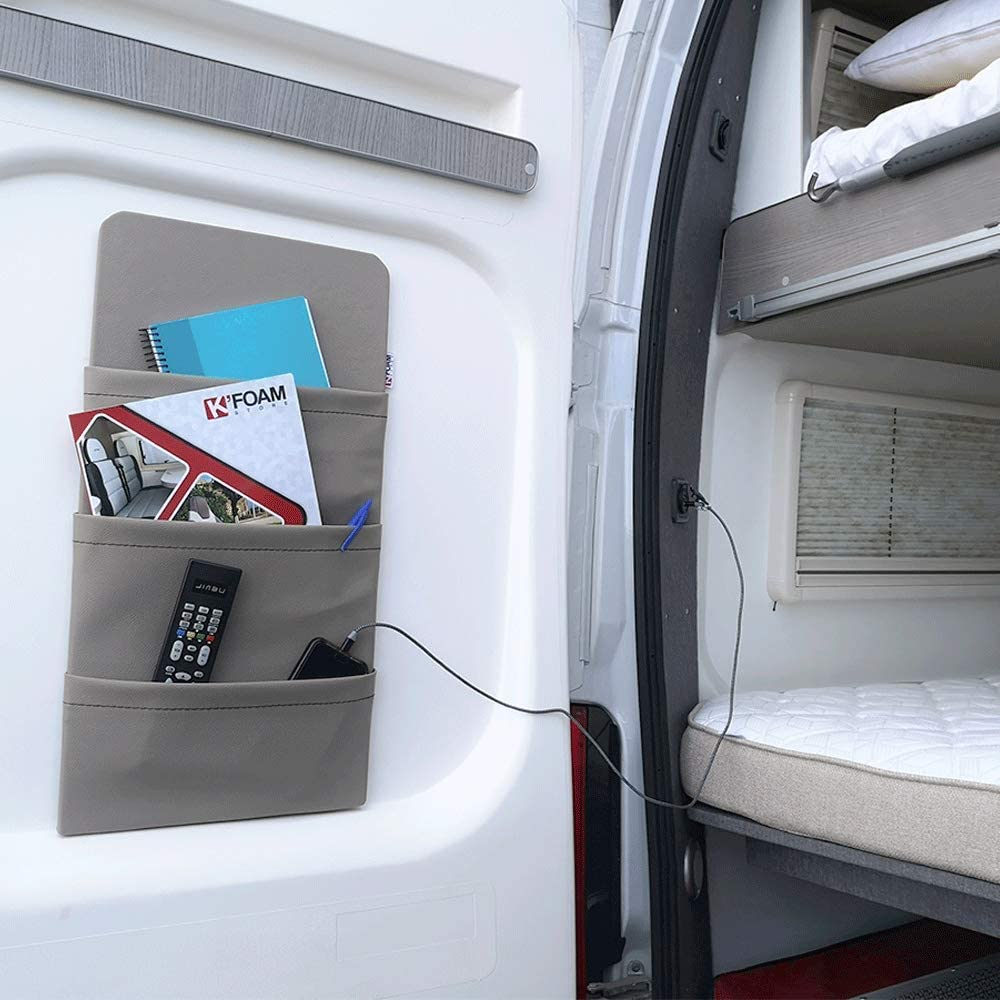 K /éFoam Pocket Organiser for Motorhome and Caravan with Velcro and Sticker in Mink