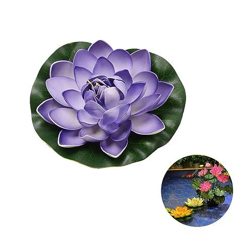 outgeek Lirio De Agua Decorativa De La Flor Artificial De La Flor De Lotus Fake Floating Para La Decoración De La Charca Del Acuario: Amazon.es: Hogar