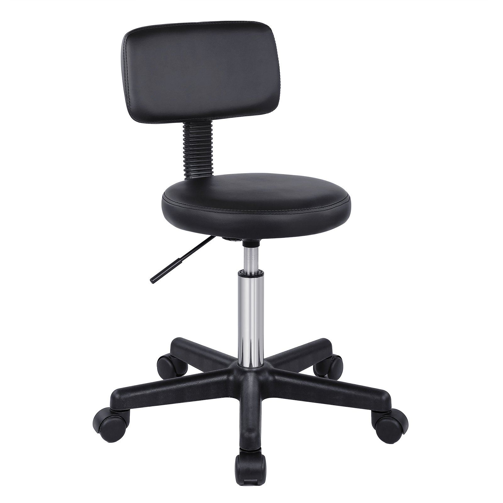 SONGMICS Adjustable Massage Salon Spa Stool Swivel Rolling Chair with Padded Stool and Back Support PU Black ULJB82B