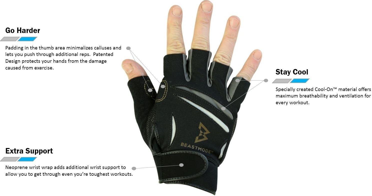 Medium BIONIC Men/'s Beast Mode Fitness Fingerless Gloves
