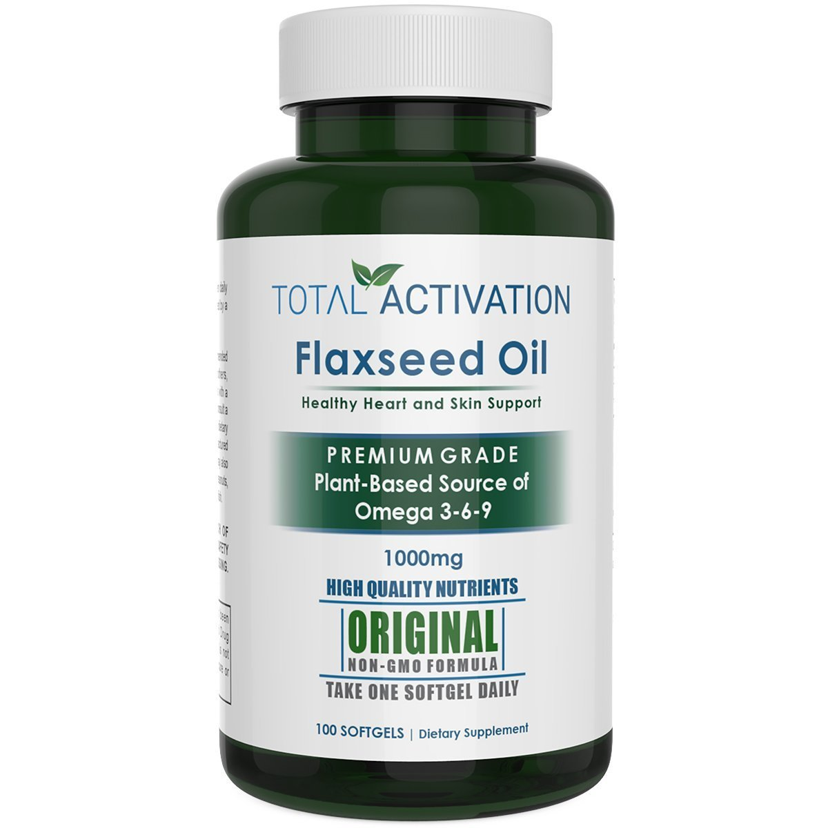 Organic Flaxseed Oil 1,000 mg Omega-3 Rich Liquid Softgel Capsules - Supports Healthy Heart, Hair, Skin and Nails - Immune System Booster with Omega 3,6,9 from natural ALA, 100 Softgels per Bottle