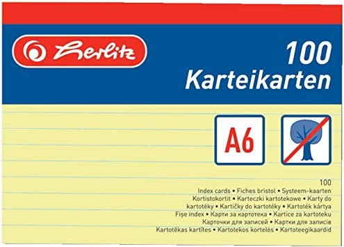 Herlitz 100 Karteikarten Din A6 blanko holzfrei weiß gelb orange rot grün