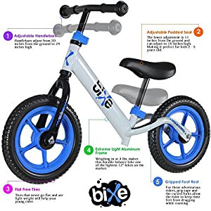 Fox Air Beds (4 LBS) Balance Bike for Kids and Toddlers - ALUMINUM Light Weight No Pedals Push and Stride Walking Bicycle (Blue)