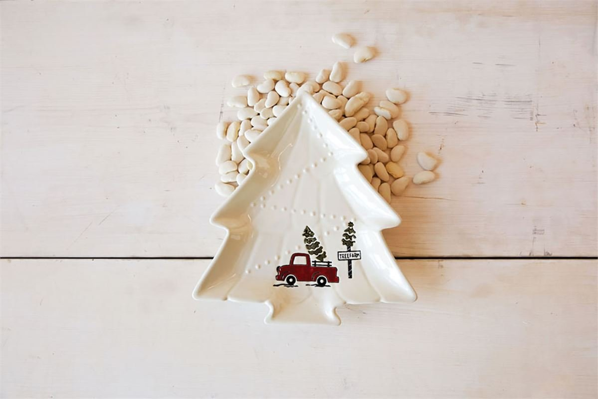 Creative Co-Op XM0288 Cream Stoneware Tree Shaped Plate with Truck Image